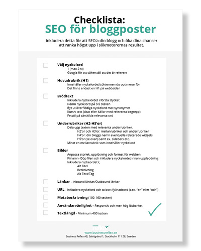 Checklista: SEO-optimera bloggpost
